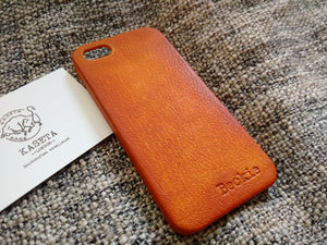 leather phone case with personalised name embossed on iphone se 5s shell