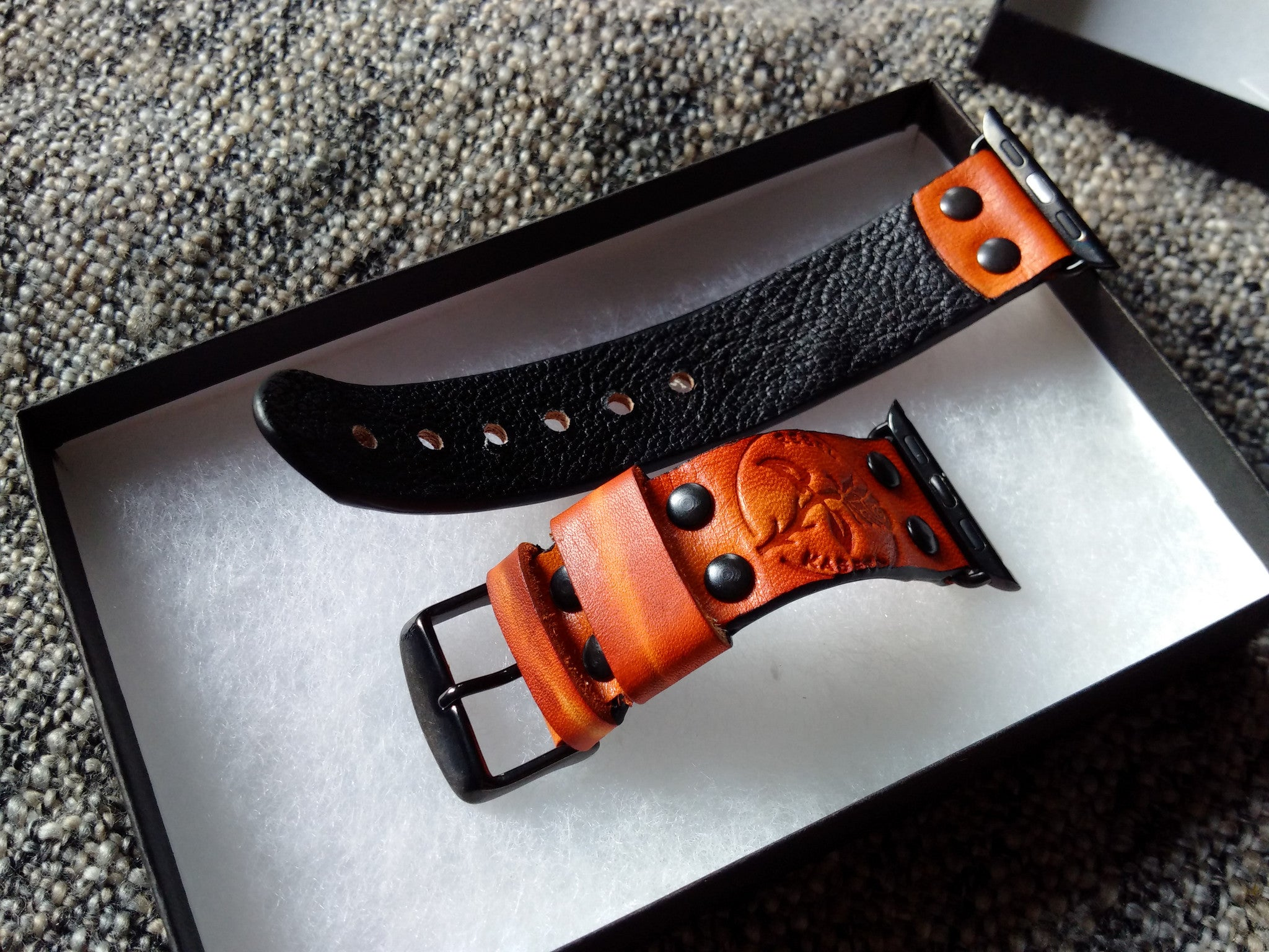 watchstrap for black apple watch, black adaptor,  皮革表带, kaseta leather
