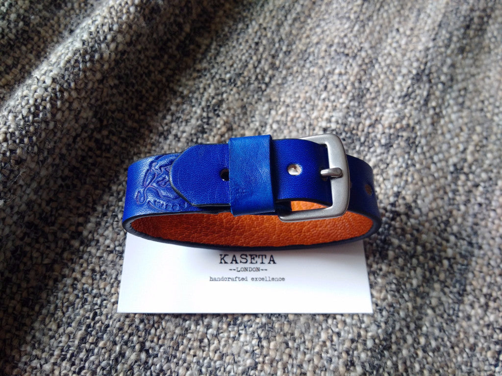 leather bracelet, Navy blue with tan leather inlay.