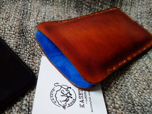 leather phone sleeve old brown, card holder for phone, iPhone wallet