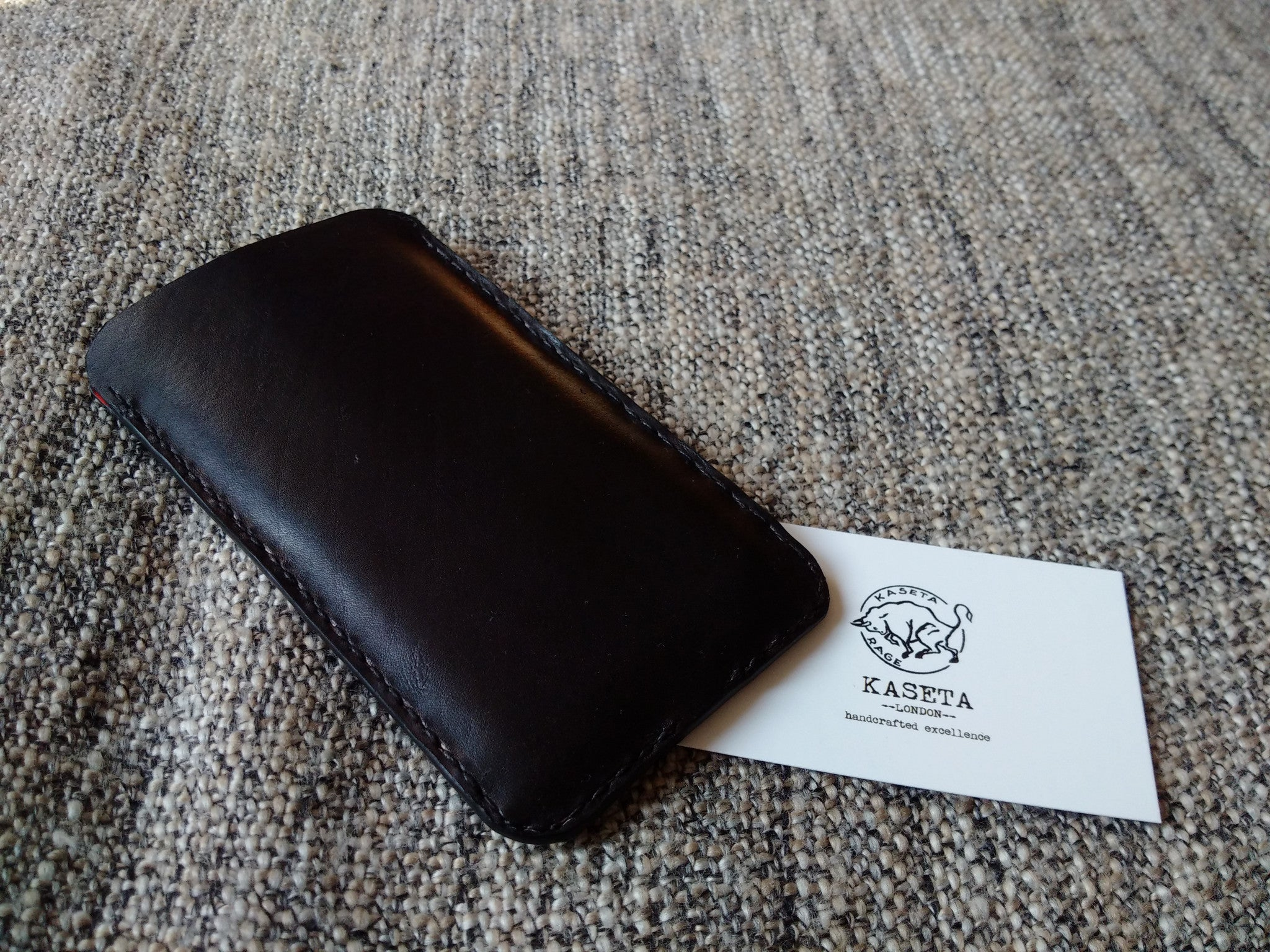 leather pouch with soft suede inside, soft leather inlay to protect your iphone