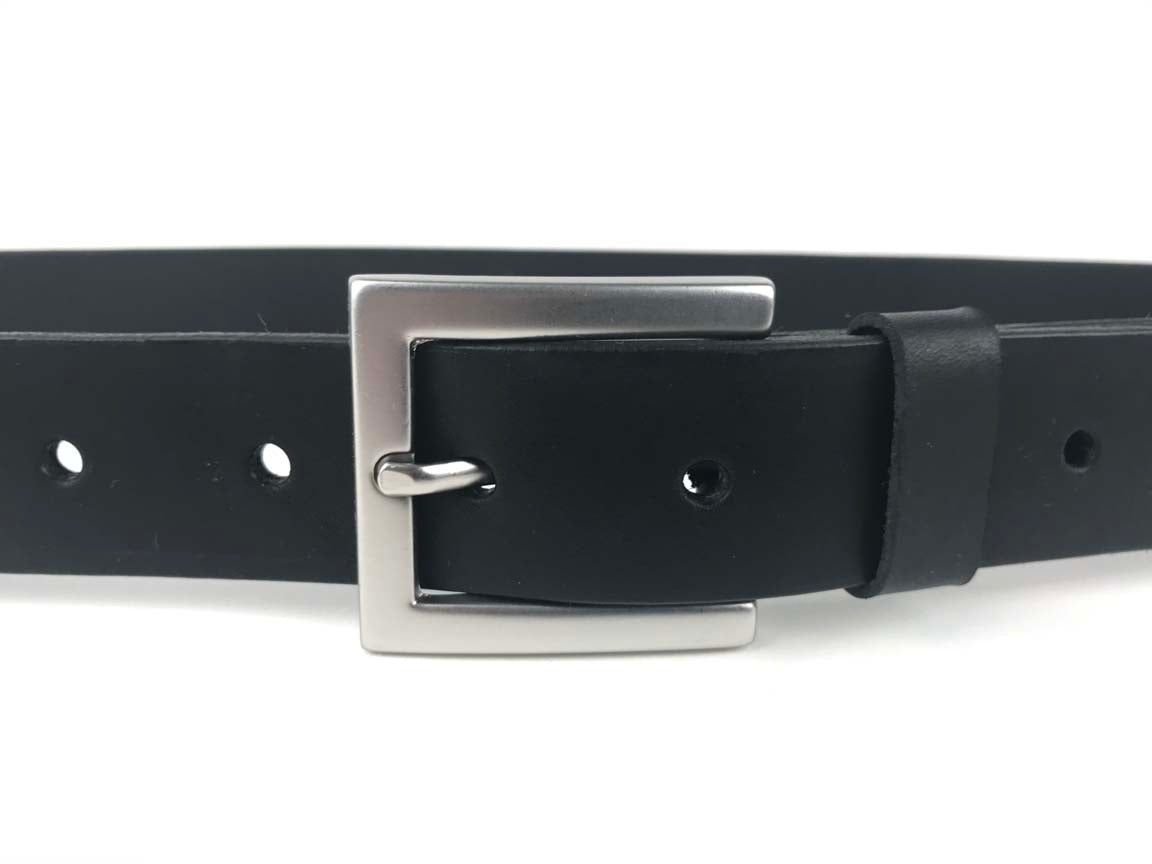 Leather Men's Belt, Woman's Belt 'SQ Milan Black - Kaseta