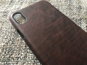 Leather iPhone Xs Max Case, iPhone XR Leather Case, iPhone 11 leather case - Bitter Chestnut