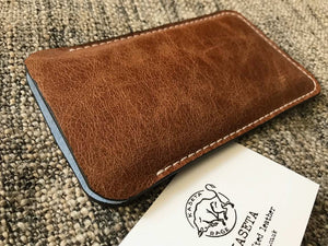 brown leather iphone xs iphone 7 8 sleeve suede inlay blue by kaseta