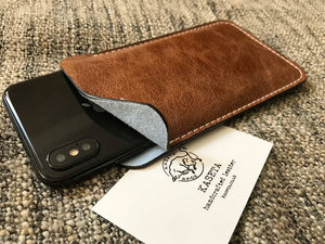 brown leather iphone xs iphone 7 8 sleeve suede inlay blue