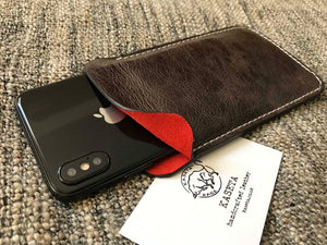 leather sleeve for iphone xs iphone 7 8 soft leather suede inlay red by kaseta