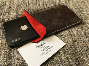 leather sleeve for iphone xs iphone 7 8 soft leather suede inlay red