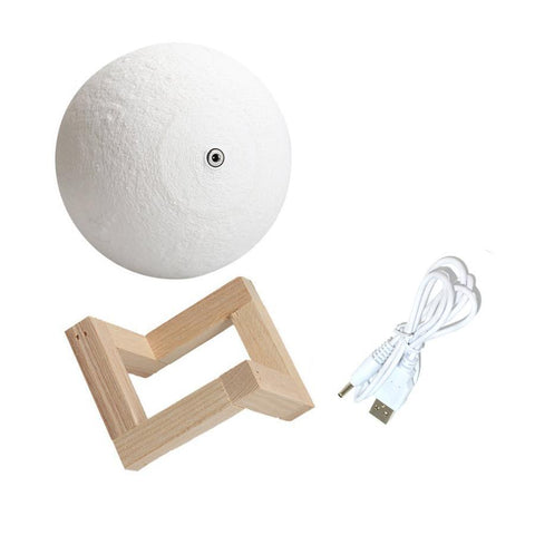 3D Lunar Night Light With Wood Stand - Firefly Marketplace