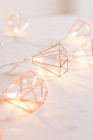 Ling's moment Rose Gold Diamond Geometric Boho LED Bedroom Fairy Lights 5.2ft Battery Powered Metal Cage String Lights For Wedding Party Valentine's Day Indoor Patio Camping