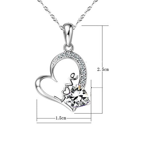 Sephla 14k White Gold Plated Forever Lover Heart Pendant Necklace,Women Jewelry Necklace 18 inch