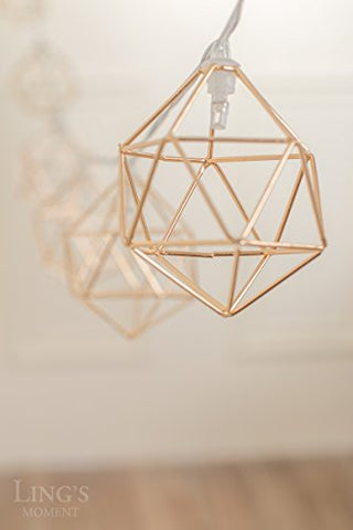 Gold Geometric Polyhedron LED String Lights