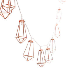 Ling's moment 5Ft Rose Gold Geometric Boho LED Bedroom Fairy Lights Battery Powered Metal Cage String Lights Paris Lamp For Wedding Party Indoor Patio Camping Wall Terrarium (Warm White)