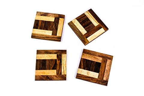 Handcrafted Wooden Mosaic Coasters - Firefly Marketplace