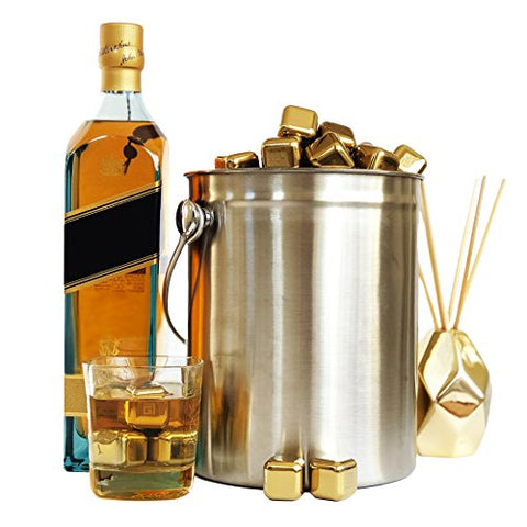 Gold Whiskey Stones Deluxe Gift Set + Barman Tong & Velvet Bag - Firefly Marketplace