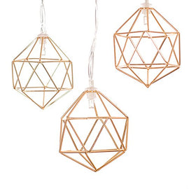 Ling's moment Gold Geometric Metal LED String Lights AA Battery Powered 5.2FT 10 LEDs String Lights For Wedding Minimalist boho Decor, Vintage Barn, Decorative Patio, Parties (Soft White)