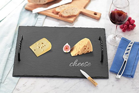 "Artaste 28577 Slate Cheese Board and Soapstone Chalk Set with Die Cast Iron Handles, 12"" x 16"", Black"