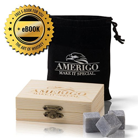 Premium Whiskey Stones Gift Set by Amerigo - Water Down Your Whiskey? Never Again! Set of 9 Whiskey Rocks - Chilling Stones Packaged in an Exclusive Wooden Gift Set - Drinking Stones + Free Ebook