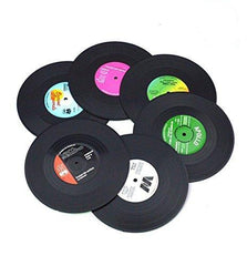 Drink Coasters Decorative,Veogo Vintage Vinyl Record Disk Table Cup Pad for Hot and Cold Beer Beverage ,Set of 6 Cup Mat Black