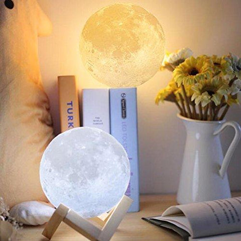 3D Lunar Night Light With Wood Stand