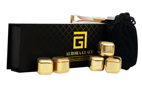Aurora Glace | Whiskey Stones Deluxe Gift Set - GOLD Stainless Steel Reusable Chilling Ice Cubes with Barman Tong & Velvet Bag for whiskey, wine, coffee & tea | Pack of 6