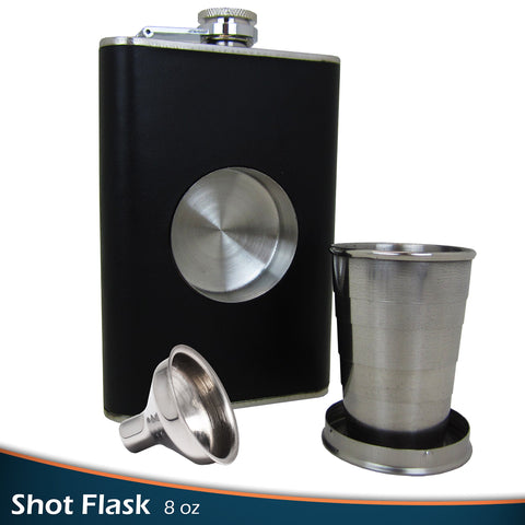 Gotrone Original Shot Flask Set (8oz) - Including a Built-in 2oz Collapsible Shot Glass & With an Extra Free Bonus Gift: Flask Funnel - Stainless Steel Hip Flask - 100% Satisfaction Guarantee