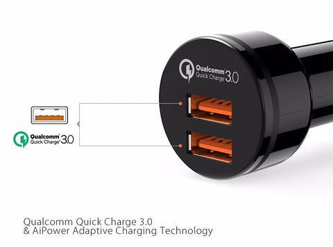 Dual Port Quick Charge 3.0 Car Charger - Two Port Fast Charging!