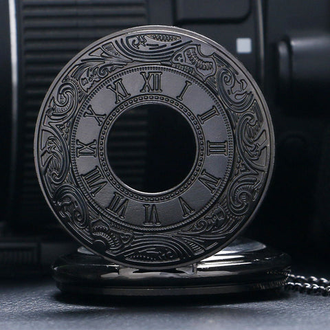 Vintage Black Steampunk Pocket Watch