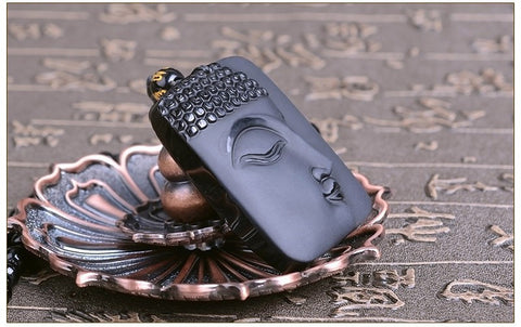 Simple Black Obsidian Buddha Necklace