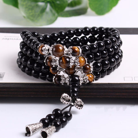 Tiger Eye Crystal Tibetan Mala Bracelet - Firefly Marketplace
