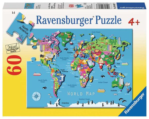 Ravensburger 09607: World Map (60 Piece Puzzle For Kids)-Kidding Around NYC