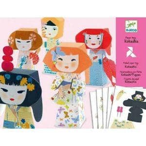 Kokeshis Folding Paper Toy Kit