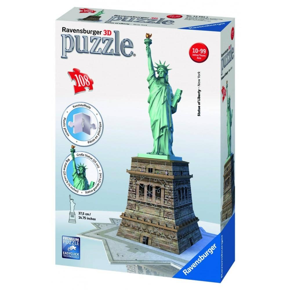 Ravensburger Statue of Liberty 108 Piece 3D Jigsaw Puzzle