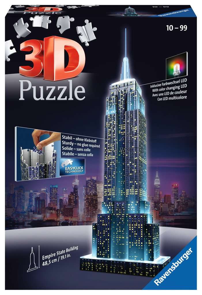 Ravensburger 12566: Empire State Building at Night (216 Piece 3D Puzzle)