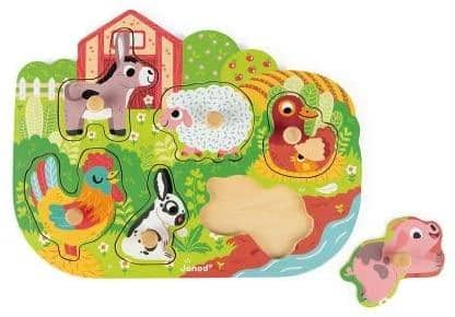 Janod 6 Piece Colorful Happy Farm Wooden Knob Puzzle-Kidding Around NYC
