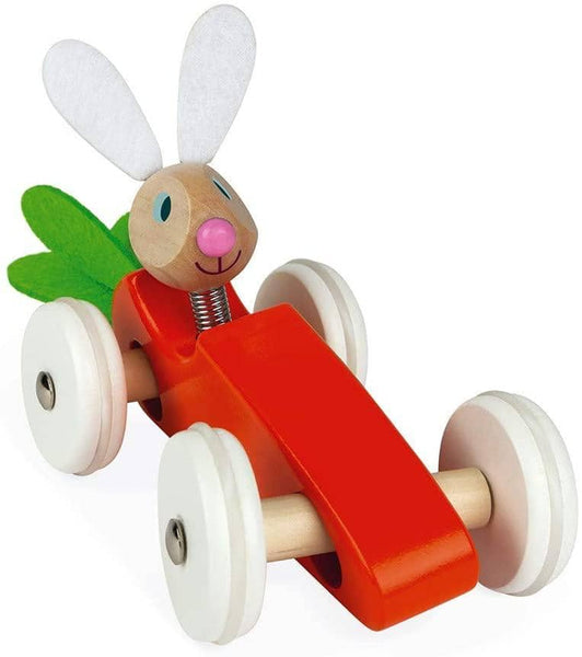 Janod Wooden Rabbit Lapin Carrot Car Push Car