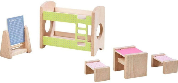 "Little Friends Kid's Room - Dollhouse Furniture For 4"" Bendy Dolls With Bunk Bed, Table, Stools & Blackboard-Kidding Around NYC"