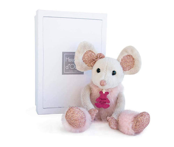 Doudou et Compagnie Histoire d'Ours Plush Stuffed Pink Glitter Mouse with Gift Box 9.8""