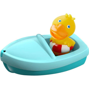 Haba 303863 Bath Boat Ahoi! Duck Bath Toy With Rubber Duck Finger Puppet Bath Toy From 18 Months-Kidding Around NYC