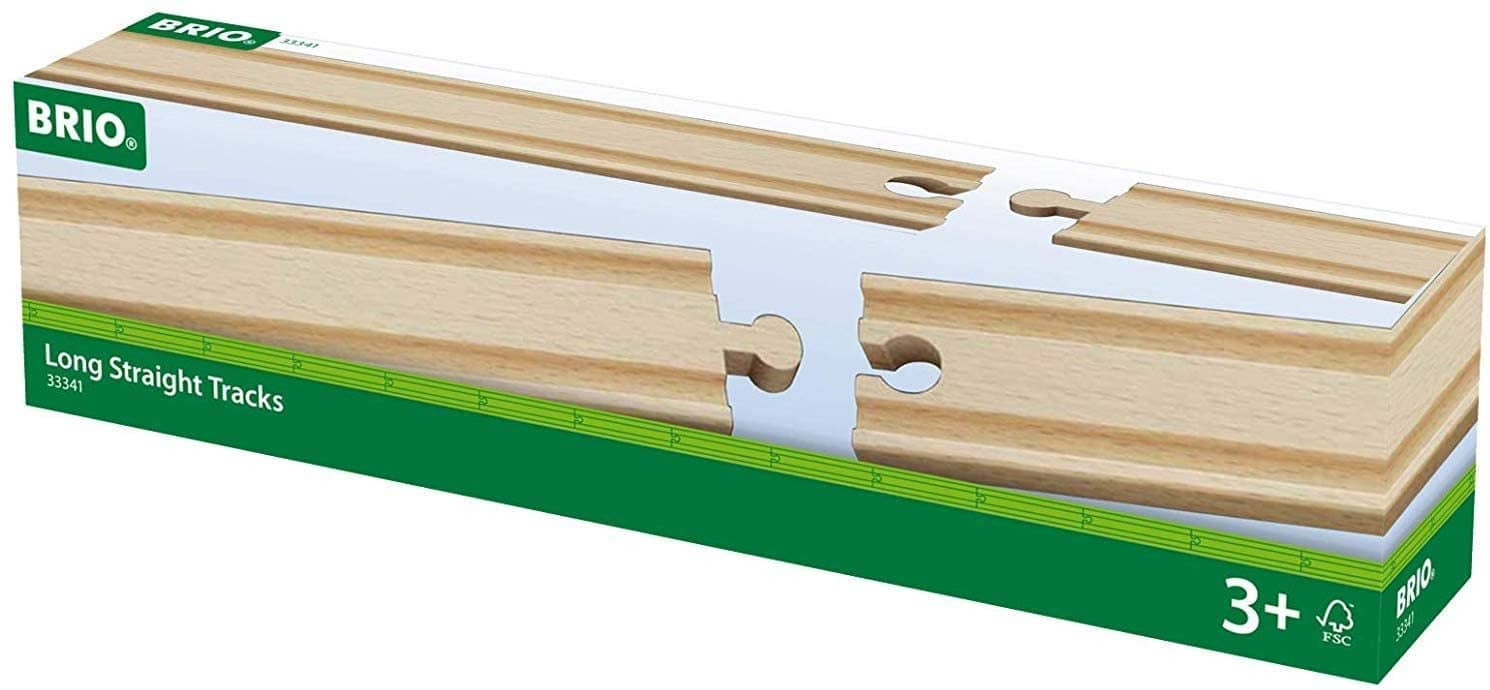 Brio World - 33341 Long Straight Tracks | 4 Piece Wooden Train Tracks For Kids Ages 3 And Up-Kidding Around NYC