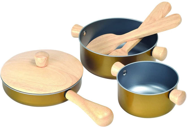 Wooden And Metal Cooking Utensils, Pots, & Pans Kitchen Playset-Kidding Around NYC