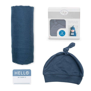 Navy Hello World Hat & Swaddle-Kidding Around NYC