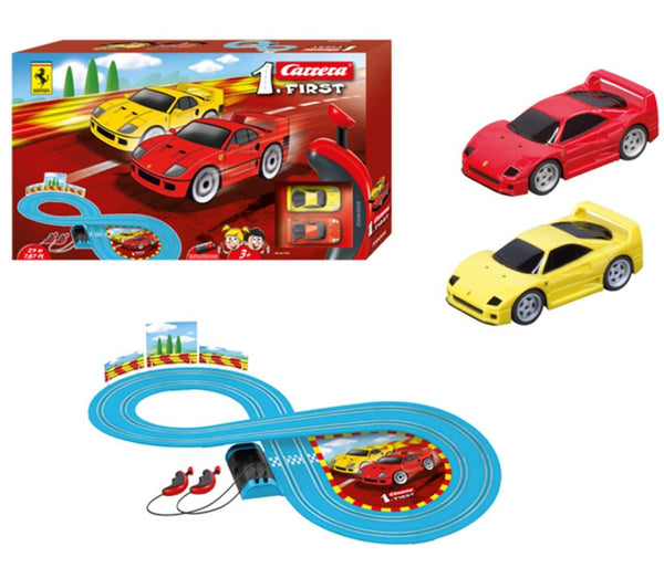 Carrera First Ferrari Slot Car Race Track - Includes 2 Cars: Red And Yellow Ferrari And Two-Controllers - Battery-Powered Beginner Set For Kids Ages 3 Years And Up