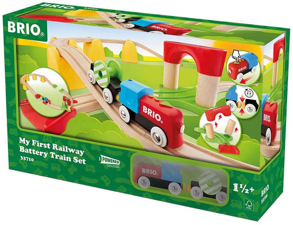 Brio World 33710 - My First Railway Battery Operated Train Set - 25 Piece Wood Train Set Toy With Accessories And Wooden Tracks For Kids Ages 18 Months And Up-Kidding Around NYC