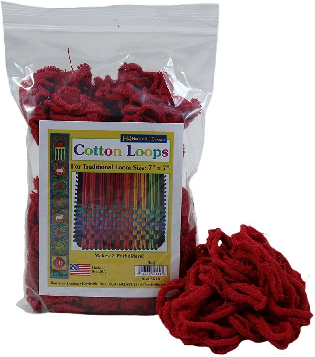 Red Cotton Loops Potholder Loom Refills-Kidding Around NYC