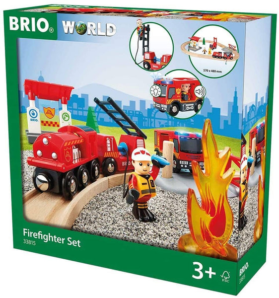 Brio 33815 Rescue Firefighter Set | 18 Piece Train Toy With A Fire Truck, Accessories And Wooden Tracks For Ages 3 And Up-Kidding Around NYC