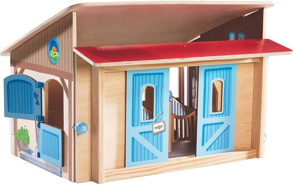 Little Friends Folding Wooden Horse Stable Riding School Play Set With 3 Stalls, Sliding Doors Feeding Trough And Washing Station-Kidding Around NYC