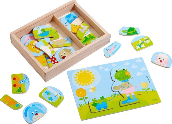 Merry Animal Mix & Match - Playful Puzzle Fun With 30 Pieces For Many Variations - With Wooden Storage Box