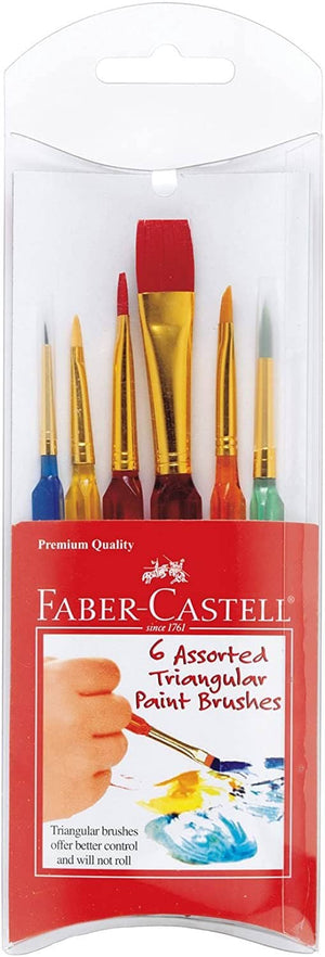 6 Ct Assorted Triangular Paint Brushes-Kidding Around NYC
