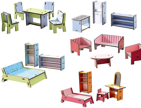 HABA Little Friends Deluxe Dollhouse Furniture Set with 5 Rooms (19 Pieces) for Villa Sunshine