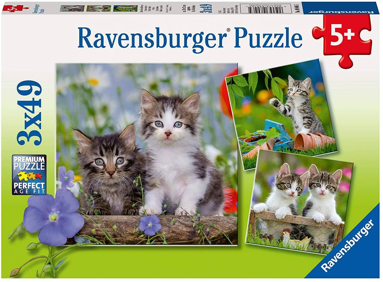 Ravensburger 08046: Cuddly Kittens (Three 49 Piece Jigsaw Puzzles)-Kidding Around NYC